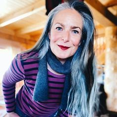 Going grey - Amanda has long grey hair | 40plusstyle.com Long Gray Hair, Grey Hair, Going Gray, Salt And Pepper, Your Hair, Amanda, Cool Hairstyles, Hair Color, Hair Styles