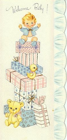 Vintage Welcome Baby card
