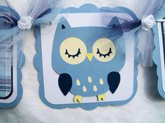 blue owl baby shower banner, it's a boy