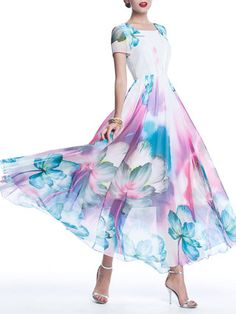 Casual Short Sleeve Floral Maxi Dress - StyleWe.com
