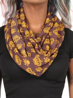 """Crown Skull"" Infinity Scarf (Brown) #InkedShop #crowns #skulls #scarf #style #accessories #winter"