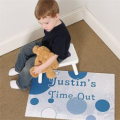 This is a great idea ... It's the Time Out© Personalized Floor Mat that comes in blue and pink. You can personalize it with their name for only $22.95! #Kids #TimeOut #Parenting