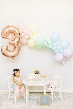 Pastel rainbow birthday party for third birthday. 3rd Birthday Party For Girls, Rainbow First Birthday, First Birthday Balloons, Girl Birthday Themes, Fairy Birthday Party, Rainbow Birthday Invitations, 4th Birthday, Rainbow Party Decorations, Birthday Balloon Decorations