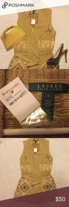 NWT Ralph Lauren Aztec sweater vest sz S. Ralph Lauren Aztec sweater vest size small. Tag still on it.   Beautiful tan and gold colors. Lauren Ralph Lauren Sweaters