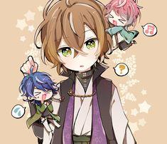 Gentaro Yumeno, Ramuda Amemura and Dice Arisugawa Cute Anime Boy, Anime Guys, Anime Chibi, Anime Art, Sanrio Danshi, Rap Battle, Cute Chibi, Cute Anime Character, Kawaii Cute
