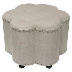 "Beige and black ottoman with a wood frame and nailhead trim.    Product: Ottoman Construction Material: Wood and fabric Color: Beige and black   Features: Nailhead trim     Dimensions: 17"" H x 24"" W x 24"" D"