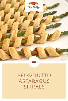 Asparagus is my favorite food.and these look delish! Prosciutto Asparagus Spirals Easy to prepare, but oh so elegant.these tempting appetizers feature asparagus spears individually wrapped with prosciutto, garlic & herb cheese and flaky puff pastry. Think Food, I Love Food, Prosciutto Asparagus, Asparagus Spears, Asparagus Appetizer, Asparagus Rolls, Prosciutto Recipes, Fresh Asparagus, Tapas