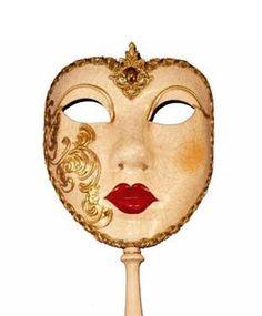 Italian masquerade Façade stick mask.
