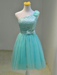 One Shoulder Short Tulle Homecoming Dresses with Lace Appliques Mini Party Dresses Custom Made Women Dresses