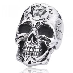 Niello Punk Skull Head Men's Titanium Finger Ring