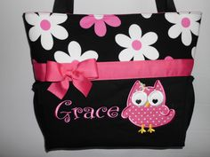 Personalized ... Hot Pink DAISY  ...  OWL Appliqué .. Diaper Bag ... Tote ... Bottle POCKETS by TweedleTotes on Etsy