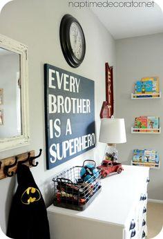 Big Boy Room W/ Cute Fixed Up Yard Sale Dresser U0026 DIY Superhero Sign