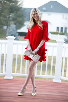 Red Ruffle Dress for Valentine's Day by Suburban Renovation
