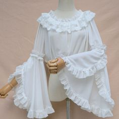 Ladies Sweet Lolita Lace Blouse Neverland Chiffon Loose Layered Crop Tops Victoria Costume Long Bell Sleeves Oversize White One Kurti Sleeves Design, Sleeves Designs For Dresses, Sleeve Designs, Blouse Designs, Moda Lolita, Lolita Mode, Chiffon Shirt, Chiffon Tops, White Chiffon