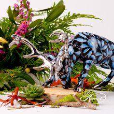 Deer is painted in Special (ZOBA-FN-PT) Blue + Black with Platinum design. Ginger Jars, China Porcelain, Halloween Makeup, Black Backgrounds, Garden Sculpture, Deer, Hand Painted, Drawings, Outdoor Decor