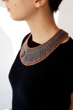 felt collar necklace grey and multicolor handstitches by Underbed