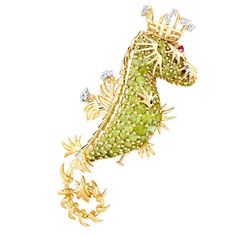 Jean Schlumberger for Tiffany - Peridot & Diamond Seahorse, with Ruby Eyes in 18K Yellow Gold. USA. 1970's Price $27,000