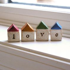 Christmas gift  ... LOVE...Four handmade polymer clay houses ... Word Houses ... little neighborhood