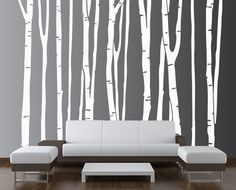 Large Wall Birch Tree Decal Forest Kids Vinyl Sticker Removable (9 trees) 9 foot tall Silver #1109