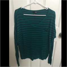 Turquoise striped shirt Ana brand (jc Penney) Like new sweater with turquoise and navy blue stripes. Sleeves roll up to make it 3/4 length jcpenney Sweaters V-Necks