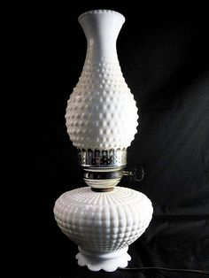 Vintage Hobnail Milk Glass Hurricane Lamp