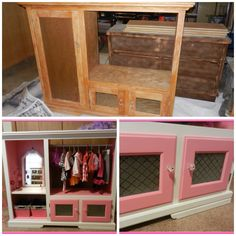 I repurposed this old entertainment center into a child's dress up center. New knobs and a stenciled, frosted glass spray paint really finished it off nicely! A little paint and inspiration goes a long way!