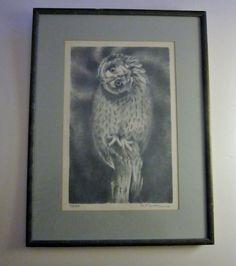 R.T. Skip Wallen Short Eared Owl Stone Lithograph by VistaChick, $1000.00