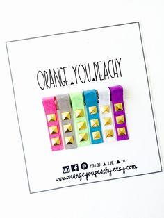 Studded Bang Hair Clips Neon Studded Hair by OrangeYouPeachy