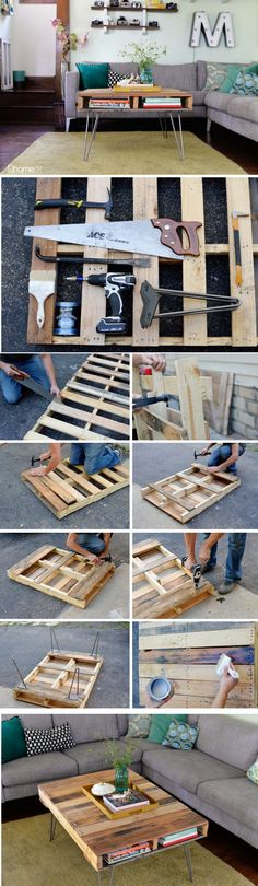 This coffee table is perfect those that love to repurpose, apartment dwellers,  or those looking for extra storage space- the open sides are great for storing books and remotes! This project is conceptually pretty easy and can be completed in about an hour's time!