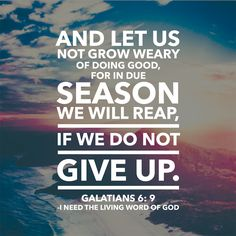 Galatians 6:9 And let us not grow weary of doing good, for in due season we will reap, if we do not give up.