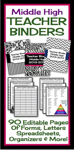 for EL...This fully editable and customizable binder has absolutely everything you will need to start your year off organized and ready to roll! All you have to do is print, hole punch, and add to a three ring binder and viola, everything you need in one place!