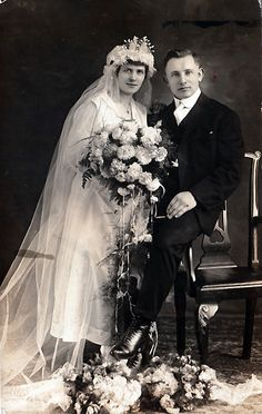 +~+~ Antique Photograph ~+~+   German couple on their wedding day - they look beautiful together.