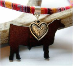 Stock Show Steer Necklace with an antique silver heart shows just how much your show cattle mean to you. Perfect for FFA, 4-H, show moms or farm and ranch wives.