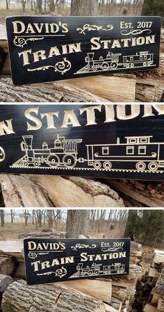 Train Station Sign Personalized   Wooden Railroad Memorabilia    Locomotive Lionel Train   Model Train   Steam Engine Train   Train Decor   Father's Day Gift Idea for Train Lovers #ad #train #traindecor #modeltrain #model #hobby #hobbydecor #hobbies #giftsforhim #giftsfordad #gift #gifts #giftidea #giftideas #lioneltrains #modeltrains #hobbytrains