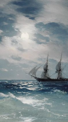 Ivan Konstantinovich Aivazovsky, detail of The Brig Mercury in Moonlight, 1874 Aesthetic Painting, Aesthetic Art, Aesthetic Pictures, Aesthetic Backgrounds, Aesthetic Wallpapers, Seascape Paintings, Landscape Paintings, Moonlight Painting, Japon Illustration