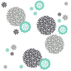 Fun Flower & Dahlia's Vinyl Wall Decal Package by LuluGirlDesigns