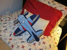 Airplane sheets and pillow (Khol's) for toddler boy room