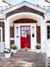 wood shakes and red door.  Yes!