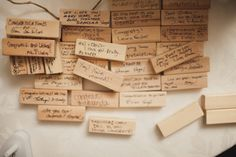 Instead of a guest book at a wedding buy a couple of Jenga games and have guests sign the pieces. Every time the bridal couple plays they will get to re-read the well wishes and relive the big day.