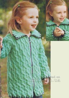 детское вязаное пальто цвета аквамарин