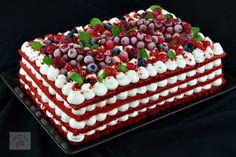 Negresa cu crema de branza si zmeura - CAIETUL CU RETETE Dessert Recipes, Desserts, Red Velvet, Raspberry, Cake, Food, Fruit, Pastries, Tailgate Desserts