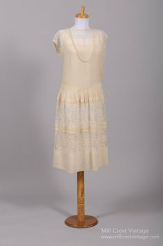 1920's Gatsby Silk Chiffon & Lace Vintage Wedding Dress