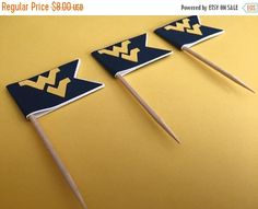 ON SALE WVU Cupcake Toppers West Virginia by PaperMadeParty