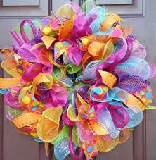 Vibrant Mesh Wreath Fun Wreath Multicolor by BrownsCustomCreation Wreath Crafts, Diy Wreath, Wreath Making, Wreath Ideas, Felt Wreath, Easter Wreaths, Holiday Wreaths, Birthday Wreaths, Baby Wreaths