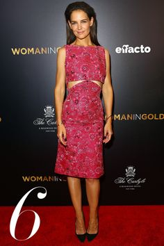 What: Zac Posen Where: Woman in Gold New York Premiere Why: The actress proves you can show off some skin and still be classy in this pink floral midi dress.   - HarpersBAZAAR.com