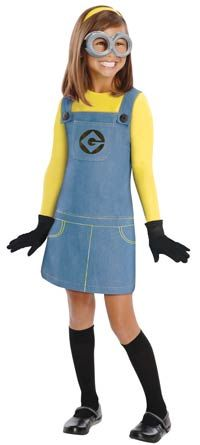 Not going to lie I want to wear this! Hey @Michelle Dittus how cute would this look next to the Minion pumpkins? Despicable Me Minion Girls Costume - Kids Costumes