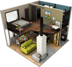 New Apartment Floor Plan Layout Small Ideas Loft Floor Plans, Small Floor Plans, Small House Plans, Apartment Layout, Apartment Design, Sims House Plans, Floor Plan Layout, Small Loft, Loft House