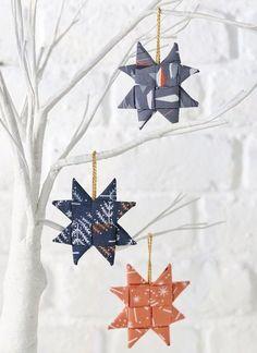 Origami stars made using fabric