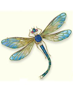 AN EARLY 20TH CENTURY ENAMEL AND GEM-SET BROOCH. Modelled as a dragonfly, the plique-à-jour enamel wings with rose-cut diamond line detail to the sapphire collet body, diamond and ruby head and blue and green enamel abdomen, mounted in gold, detachable brooch and hairpin fitting, circa 1900. #ArtNouveau #brooch