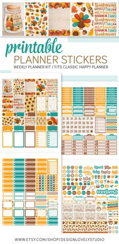 Happy Planner Printable Planner Stickers Kit, Thanksgiving Weekly Planner Stickers